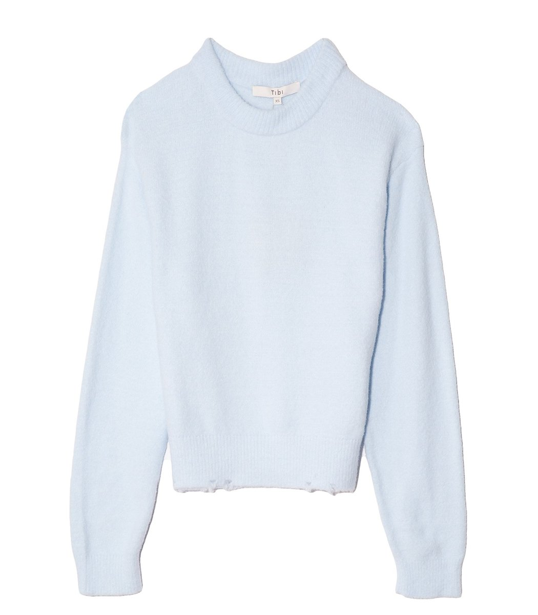 Tibi Fondue Crewneck Sweater in Sky Blue