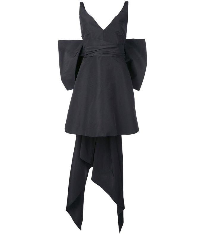 bow-embellished silk-taffeta mini dress