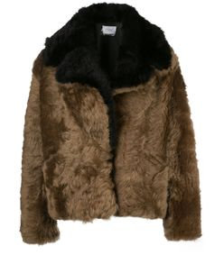 bicolor cropped shearling coat