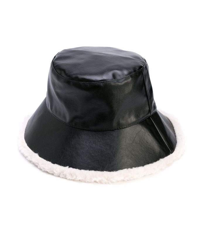 billie faux fur leather bucket hat