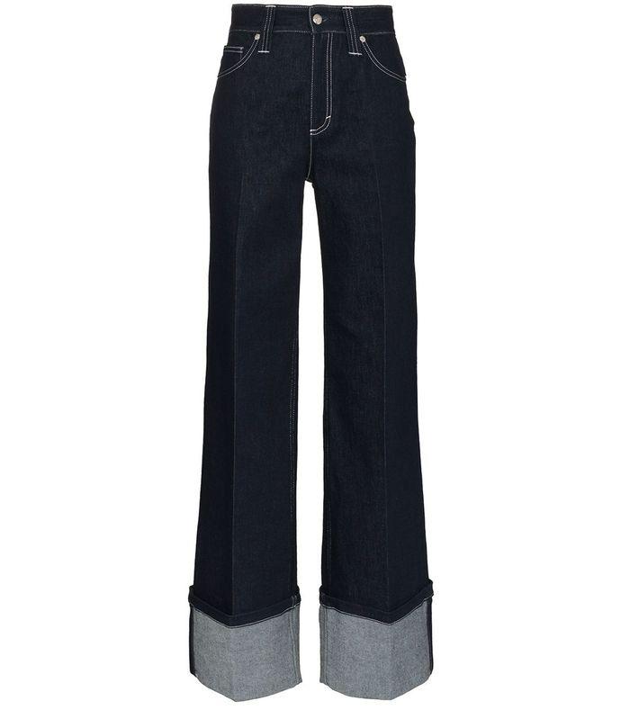wide leg oversized cuff jean