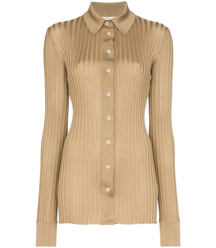 ribbed collared cardigan