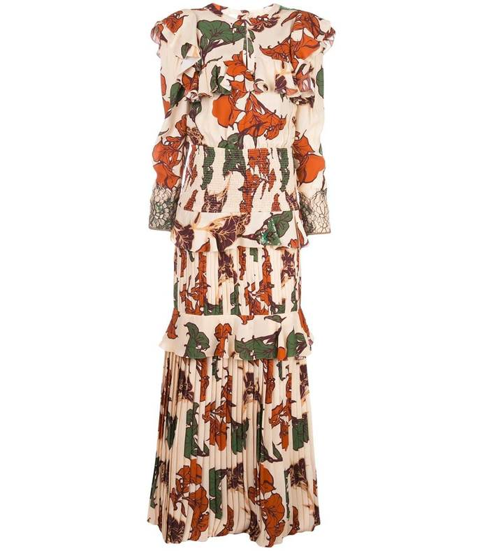 celebration ruffle floral dress