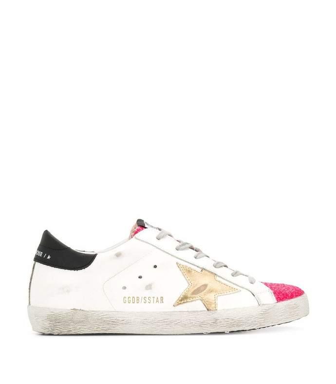 pink glitter superstar sneaker