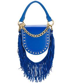 blue mini horse studded fringed strap shoulder bag