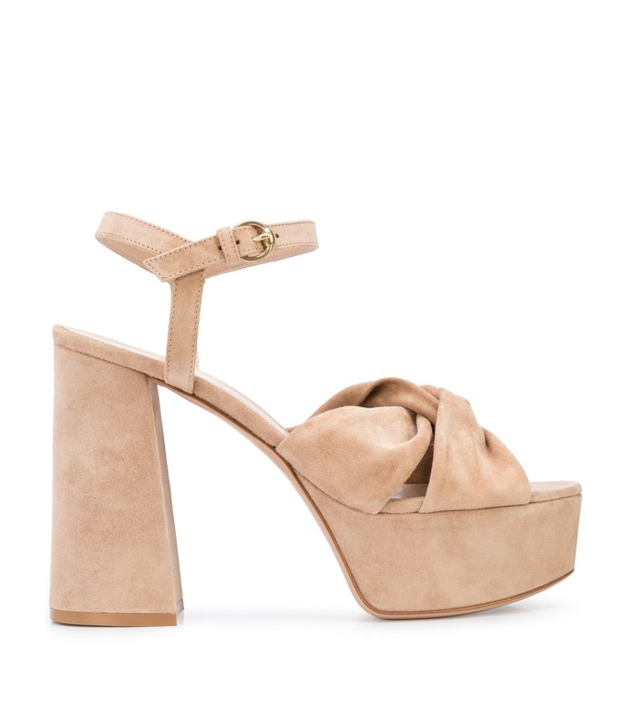 suede knot cross strap platform block heel