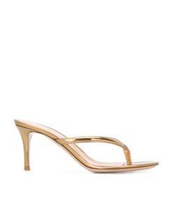 thong metallic slide heels