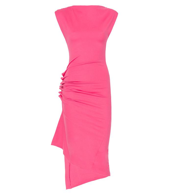 pink long jersey dress