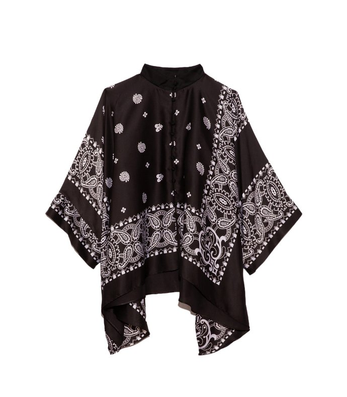 archive print mix shirt in black