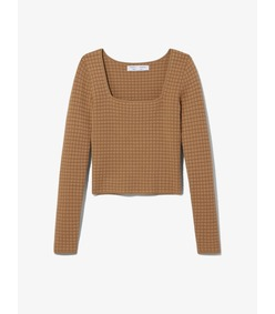 quilted knit square neck top
