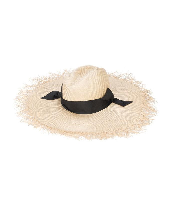 nude neutral/black genie woven raffia hat