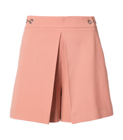 pink high waisted pleat front shorts