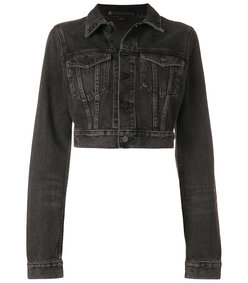 black cropped denim jacket