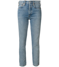 blue double needle crop jeans