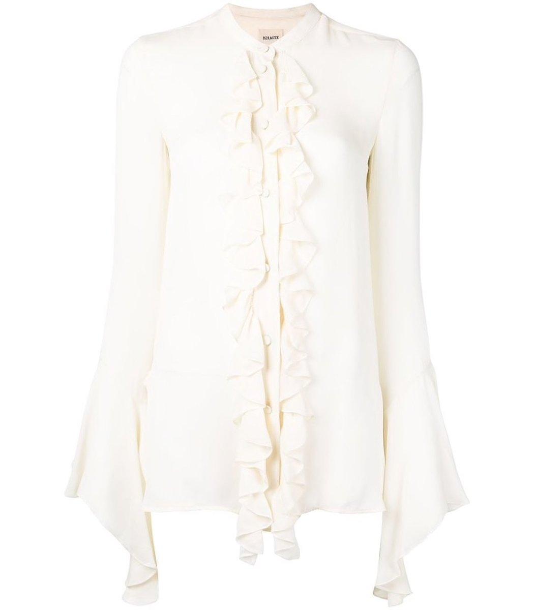 Khaite Keith Ruffle Front Wide Sleeve Shirt