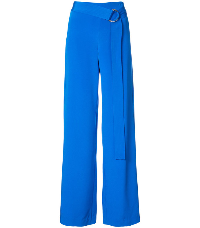 blue silk belted palazzo pants