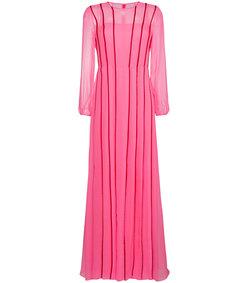 pink chiffon long sleeve gown