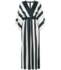 white/black plunge stripe dress