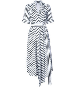white/black striped asymmetrical belted dress
