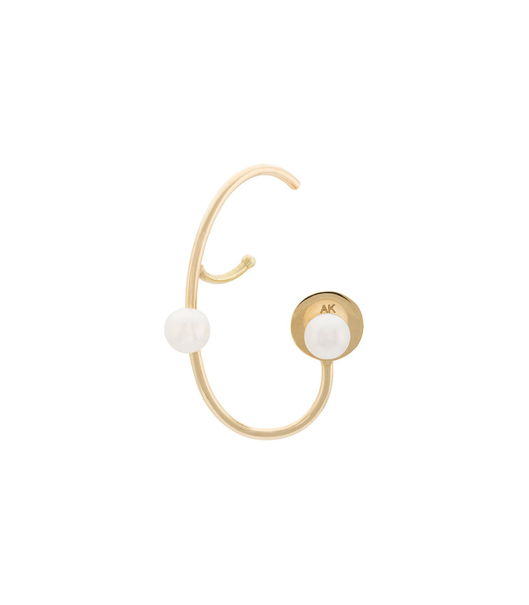ANA KHOURI Gold Right Unit Pearl Lily Earring
