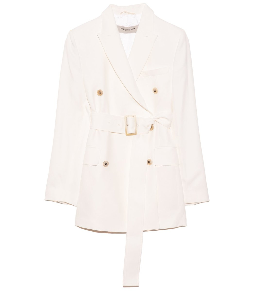 Golden Goose Clizia Blazer with Belt in Optic White