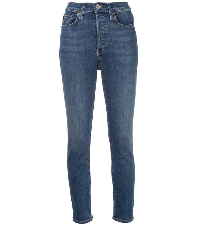 blue high-waisted skinny jeans