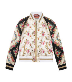 multicolor guccification rose print silk bomber jacket