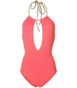 pink halter neck swimsuit