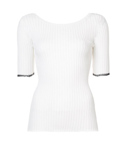 white scoop back knitted top