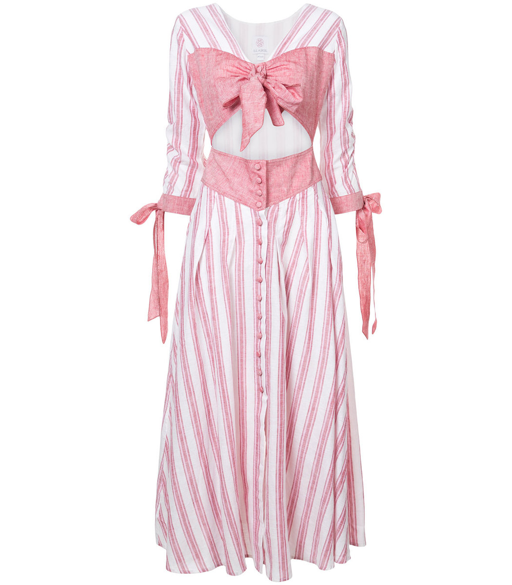Gül Hürgel Pink/White Cut Out Detail Bow Dress