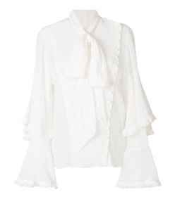 white asymmetric bow blouse