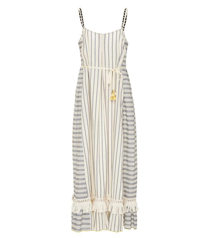white ami fringe maxi dress