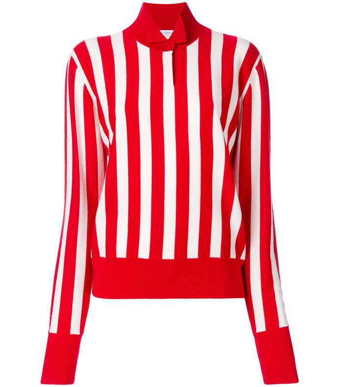 red striped high neck jumper