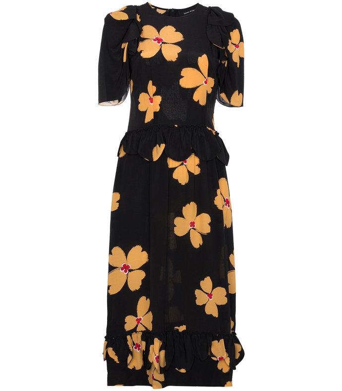 black floral print scallop trimmed silk dress