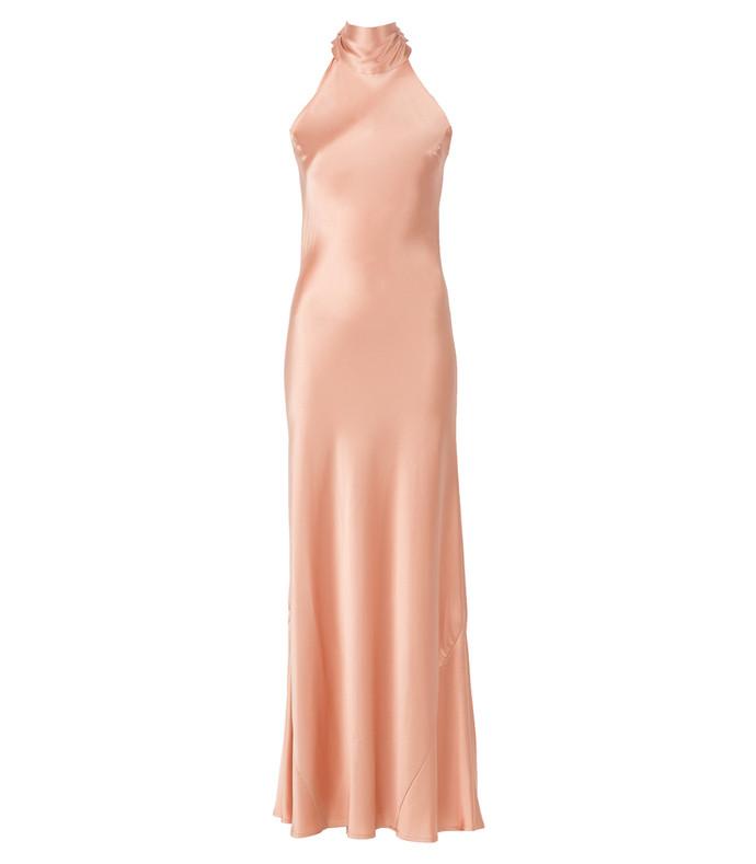 pink silk tie neck dress