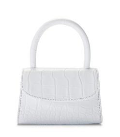 mini white croco embossed leather bag