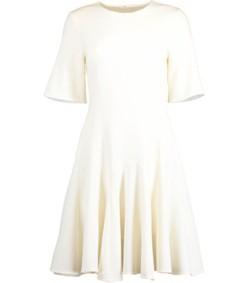 short sleeve shift dress with flounce hem