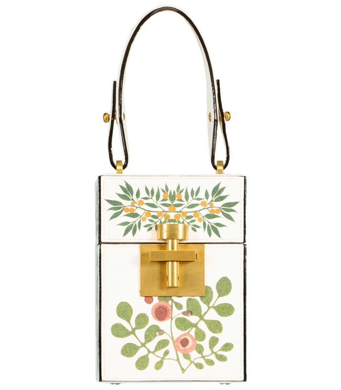 floral alibi box top handle bag