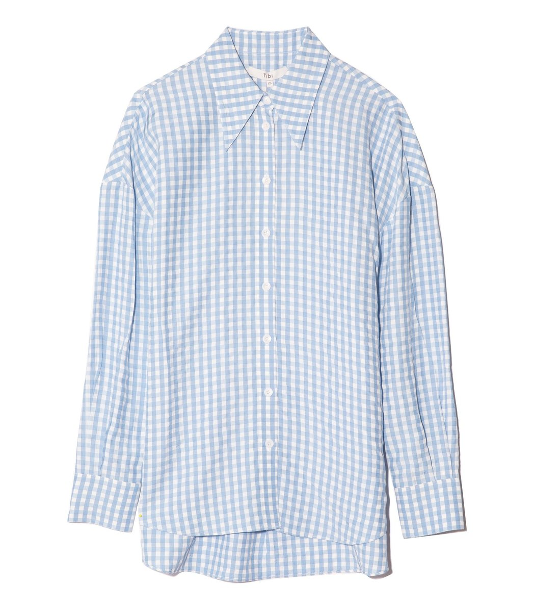 Tibi Viscose Gingham Relaxed Blouse in Light Blue Multi