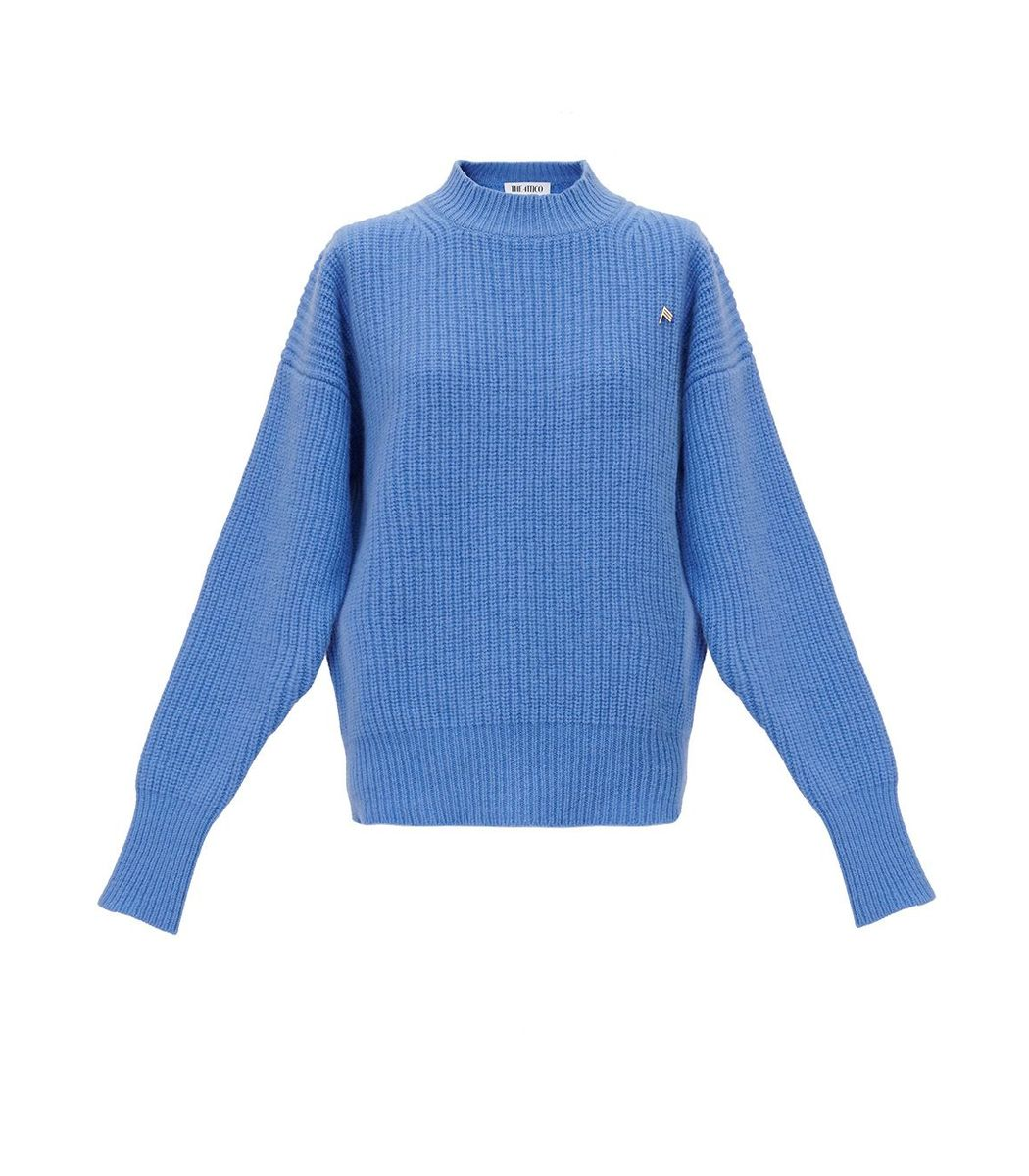 Attico Wools Blue Ribbed Wool Sweater