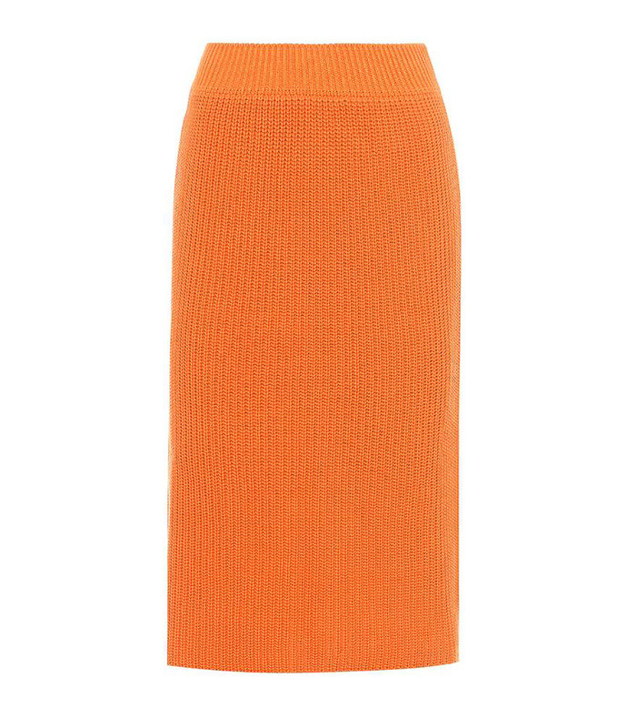 orange knitted cotton skirt