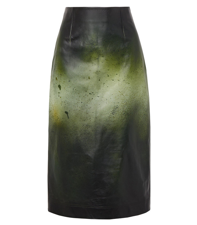 green printed glossed leather midi skirt