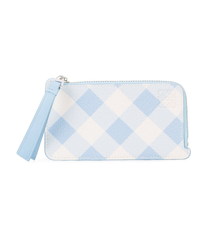 blue gingham coin card holder