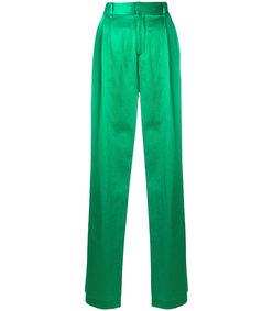 green long satin trousers