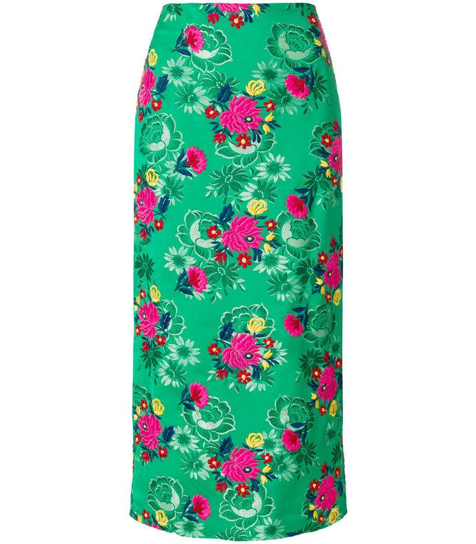 green straight midi skirt