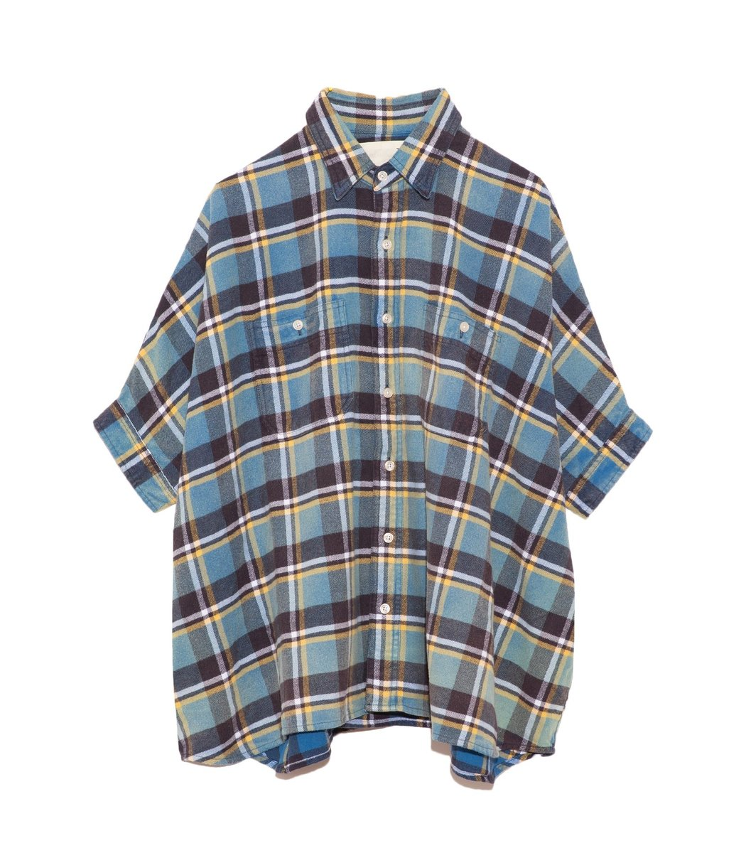 R13 Oversized Boxy Shirt in Blue Plaid