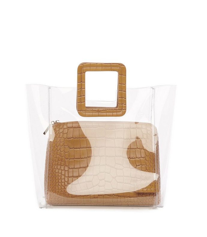 shirley bag in clear/tan faux croc