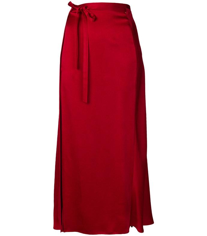 red high-waisted skirt