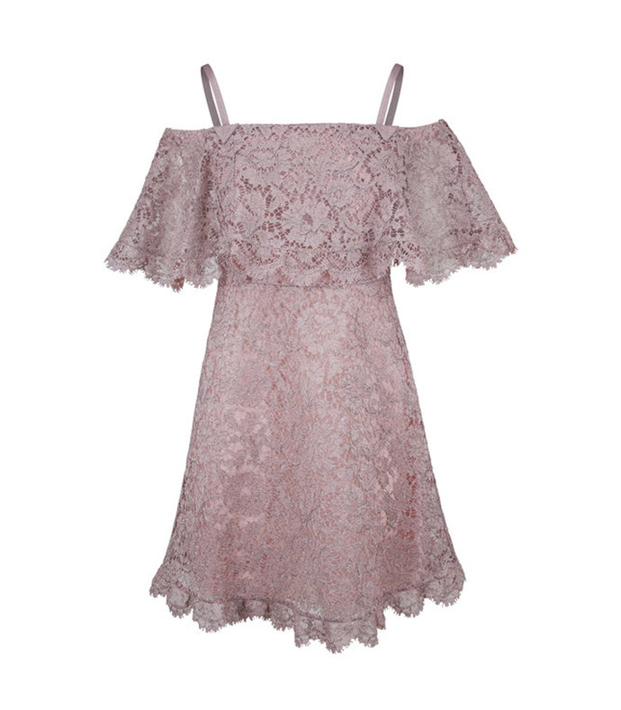 purple cotton blend lace mini dress