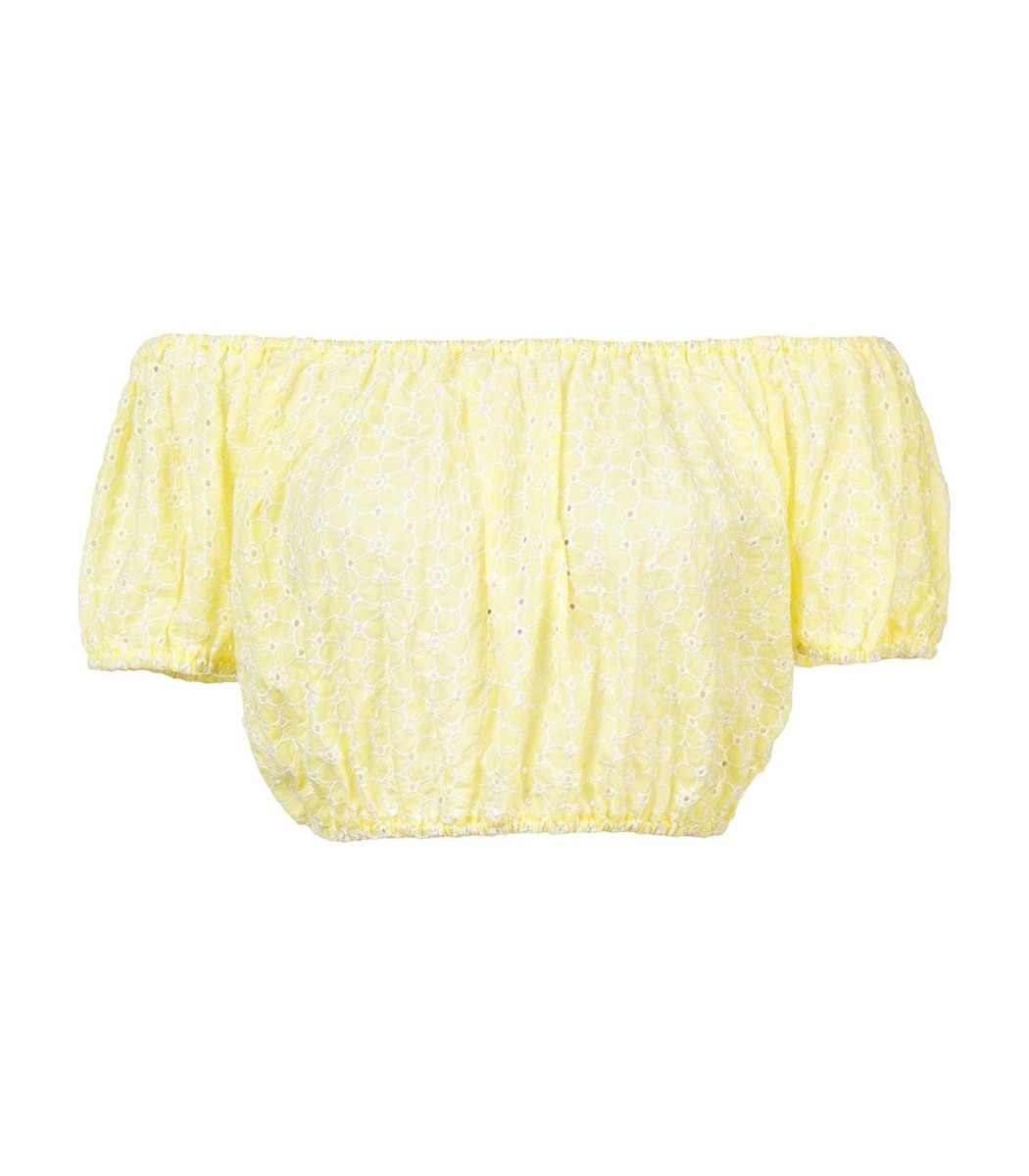 LISA MARIE FERNANDEZ Yellow Leandra Eyelet Top